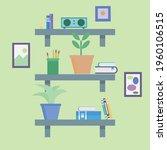 three shelves with indoor... | Shutterstock .eps vector #1960106515