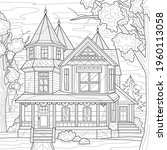 big house.coloring book... | Shutterstock .eps vector #1960113058