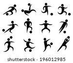 abstract soccer players icons | Shutterstock .eps vector #196012985