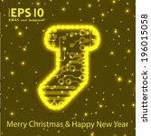 christmas sock in circuit board ... | Shutterstock .eps vector #196015058