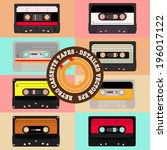 retro cassettes tapes  ... | Shutterstock .eps vector #196017122