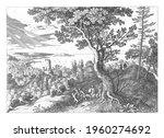 in a landscape a man is... | Shutterstock . vector #1960274692