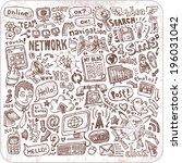 hand drawn social media doodle... | Shutterstock .eps vector #196031042