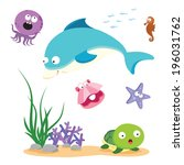 beautiful sea life. vector... | Shutterstock .eps vector #196031762