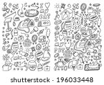 cats and dogs hand drawn set | Shutterstock .eps vector #196033448