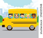 happy kids and driver riding... | Shutterstock .eps vector #196035548