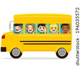 illustration of school bus with ... | Shutterstock .eps vector #196035572