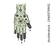 a hand with the occult signs.... | Shutterstock .eps vector #1960370902