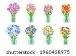 set of fresh flower bouquets in ...   Shutterstock .eps vector #1960438975