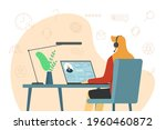 call center operator woman and...   Shutterstock .eps vector #1960460872