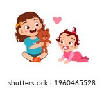 cute little girl play with baby ... | Shutterstock .eps vector #1960465528