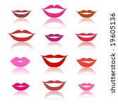 smiles  lips icons on white | Shutterstock .eps vector #19605136