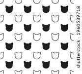 cats heads black seamless...   Shutterstock .eps vector #1960539718