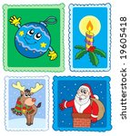 christmas post stamps... | Shutterstock .eps vector #19605418
