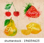 fruit set drawn watercolor... | Shutterstock .eps vector #196054625