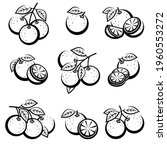 oranges set. collection icons... | Shutterstock .eps vector #1960553272