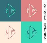 Pop Art Line Fish Icon Isolated ...