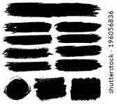 black paint spots vector set | Shutterstock .eps vector #196056836