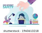 hand holds schoolgirl under... | Shutterstock .eps vector #1960613218