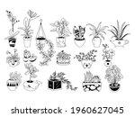 set of plants in pots.... | Shutterstock .eps vector #1960627045
