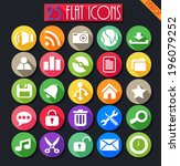 desktop flat icons set | Shutterstock .eps vector #196079252