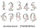 floral number. set digits with... | Shutterstock .eps vector #1960838962