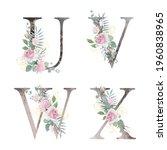 floral alphabet. set letters... | Shutterstock .eps vector #1960838965