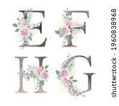 floral alphabet. set letters... | Shutterstock .eps vector #1960838968