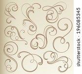 vintage curled vignettes | Shutterstock .eps vector #196085345