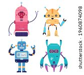 set of happy funny robots... | Shutterstock .eps vector #1960874098