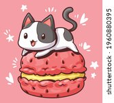 macaron and cute cat  black and ... | Shutterstock .eps vector #1960880395