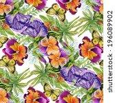 wild flowers seamless pattern... | Shutterstock . vector #196089902