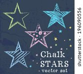 set of colorful stars drawn... | Shutterstock .eps vector #196090556