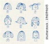 vintage avatars sketch.... | Shutterstock .eps vector #196094645