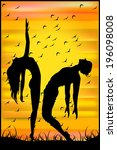 silhouette of two dancers at... | Shutterstock .eps vector #196098008