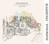 stockholm postcard. street in...   Shutterstock . vector #1961009578