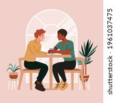gay couple on a date at cafe.... | Shutterstock .eps vector #1961037475