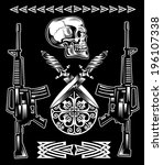 the vector image of skull with...   Shutterstock .eps vector #196107338