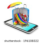 Vacation with Mobile Phone Concept. Touchscreen Smart Phone with Different Accessories for Vacation isolated on white background - stock photo