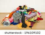 big pile of clothes and... | Shutterstock . vector #196109102