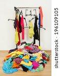 untidy cluttered woman wardrobe ... | Shutterstock . vector #196109105