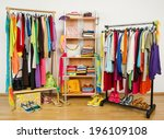 wardrobe with summer clothes... | Shutterstock . vector #196109108