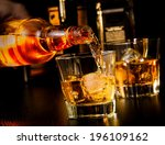barman pouring whiskey in front ...   Shutterstock . vector #196109162