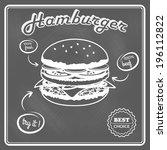 delicious best choice hamburger ... | Shutterstock .eps vector #196112822