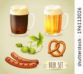 Glass mugs of lager and dark beer hop pretzel and sausage snacks decorative set vector illustration
