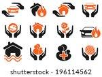 insurance vector icons | Shutterstock .eps vector #196114562