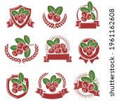 cranberry label icon set.... | Shutterstock .eps vector #1961162608