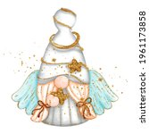 digital paint watercolor angel... | Shutterstock .eps vector #1961173858
