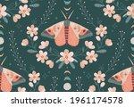 floral moon moth ornament... | Shutterstock .eps vector #1961174578