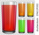 set of translucent glasses with ... | Shutterstock .eps vector #196119332